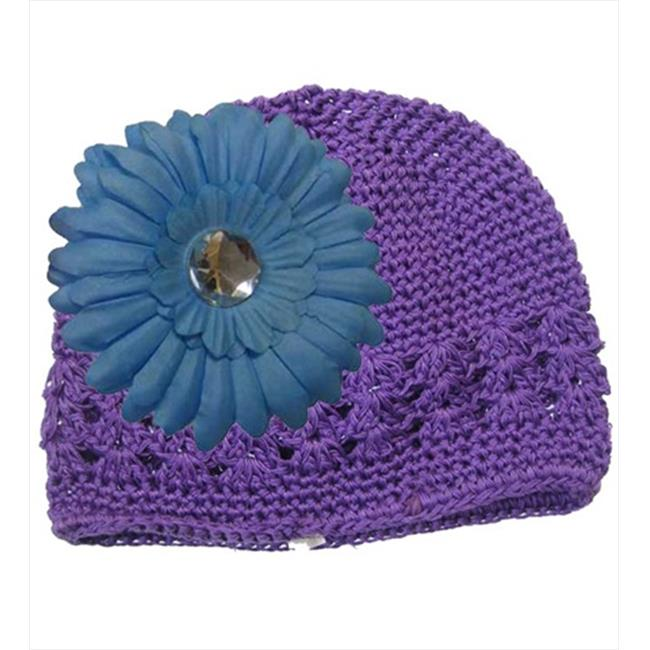CoverYourHair 50242 Purple Adorable Kufi Hat with Blue Daisy Flower