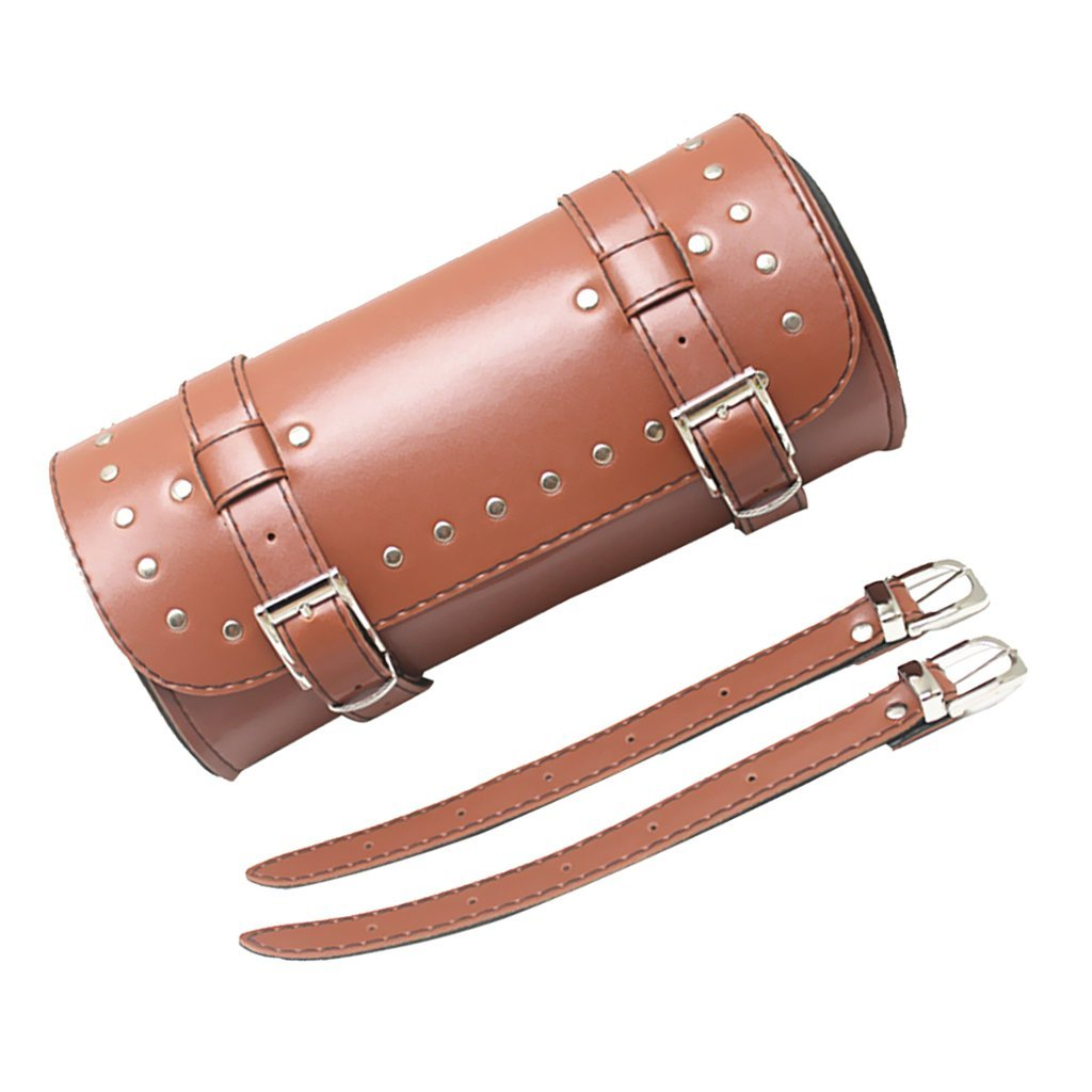 Brown Leather Motorcycle Luggage Tool Roll Saddle Bag Protective Pouch Case for Harley - image 3 of 6