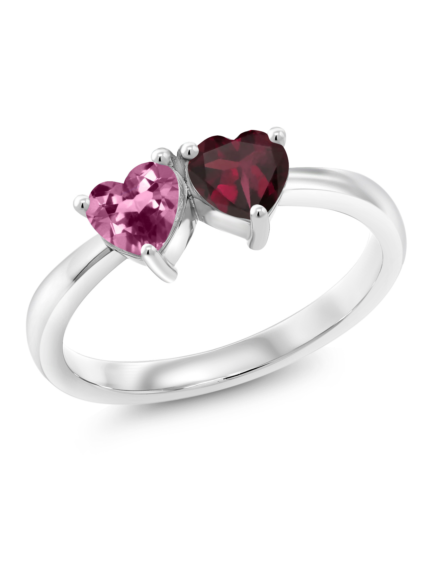 0.99 Ct Heart Shape Pink Tourmaline Red Rhodolite Garnet 925 Silver Ring by