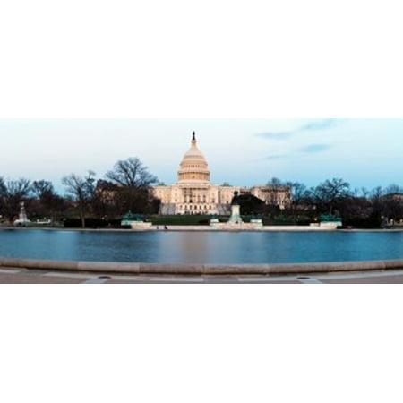 Capitol Washington Dc Postcard (Government building at dusk Capitol Building National Mall Washington DC USA Canvas Art - Panoramic Images (15 x 6) )