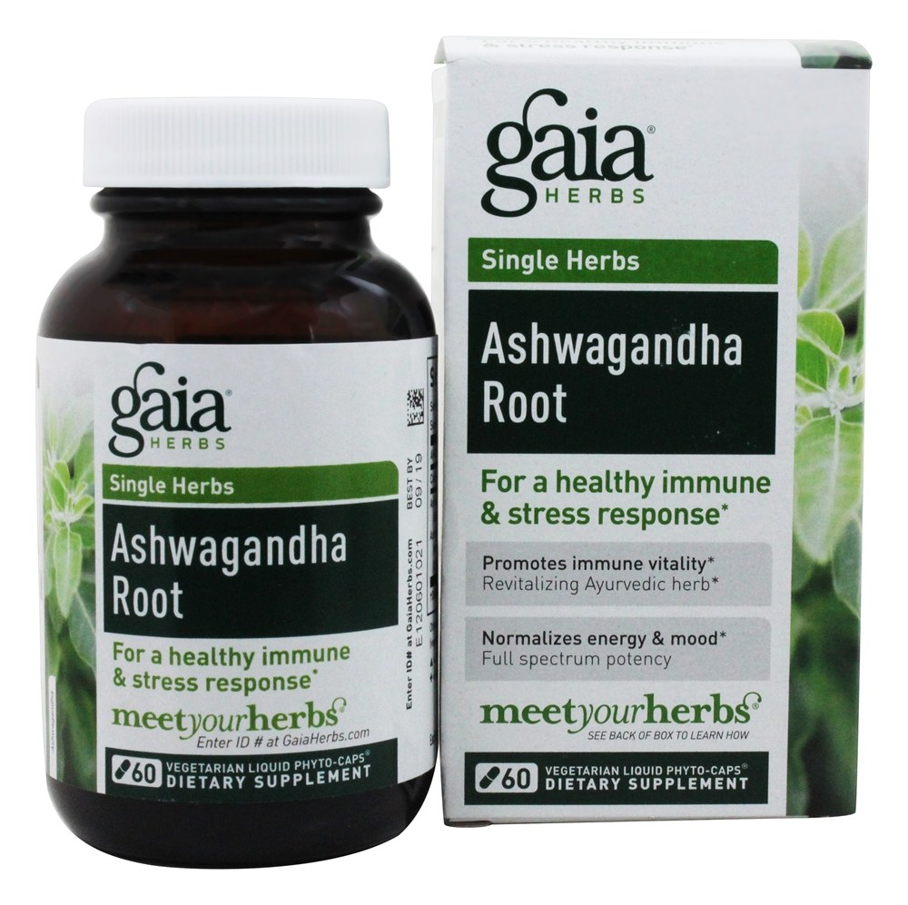Gaia Herbs - Ashwagandha Root Liquid Phyto-Caps - 60 Vegetarian Capsules