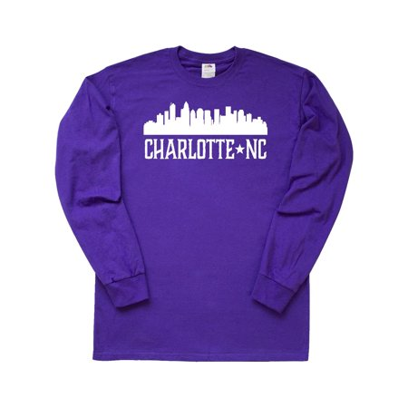 Charlotte North Carolina Skyline NC City Long Sleeve T-Shirt Charlotte Ronson Clothing