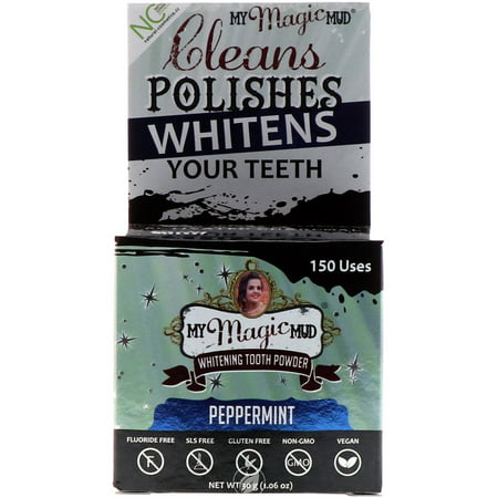 My Magic Mud Activated Charcoal Tooth Powder Peppermint 1.06 Ounce, Pack of 2