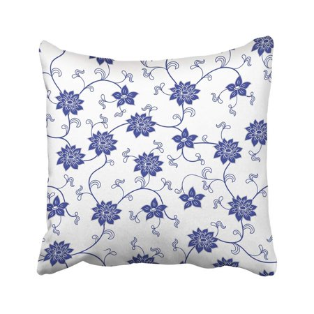 CMFUN Blue China Chinese Porcelain with Flowers White Floral Lotus Oriental Japanese Pillow Case Pillow Cover 18x18 inch Throw Pillow (Chinese Blue White Porcelain)