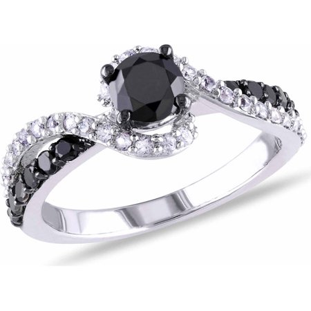 3 4 Carat T W  Black Diamond And 1 3 Carat T G W  Created White Sapphire Sterling Silver Bypass Ring