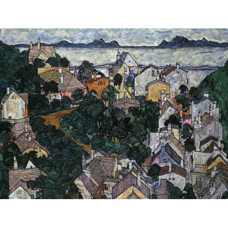 Egon Schiele Artwork - Summer Landscape; Sommerlandschaft, 1917 Coastal Village Painting Print Wall Art By Egon Schiele