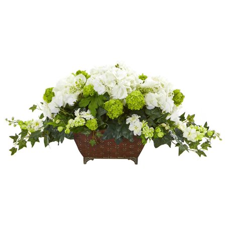 Hydrangea and Ivy Artificial Arrangement in White