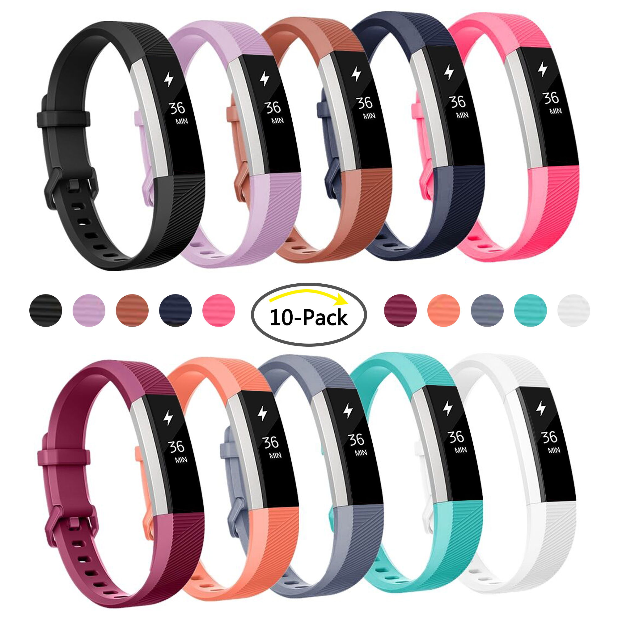 Luxmo Replacement Accessories Bands (10 Pack) for Fitbit Alta and Alta HR, Classic Sport Band for Fitbit Alta HR and Fitbit Alta, Small Large Women Men(Large)
