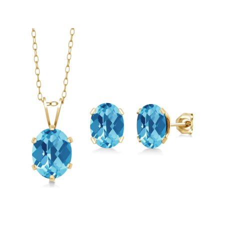 3.50 Ct Checkerboard Swiss Blue Topaz Gold Plated Silver Pendant Earrings Set - image 3 of 3