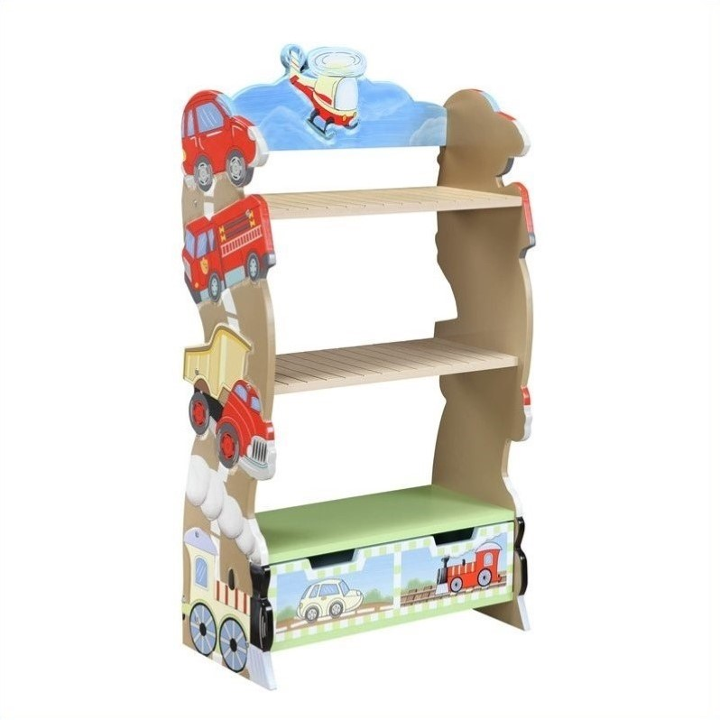 Fantasy Fields Transportation Kids Bookshelf, 3-Tier with Storage Drawer