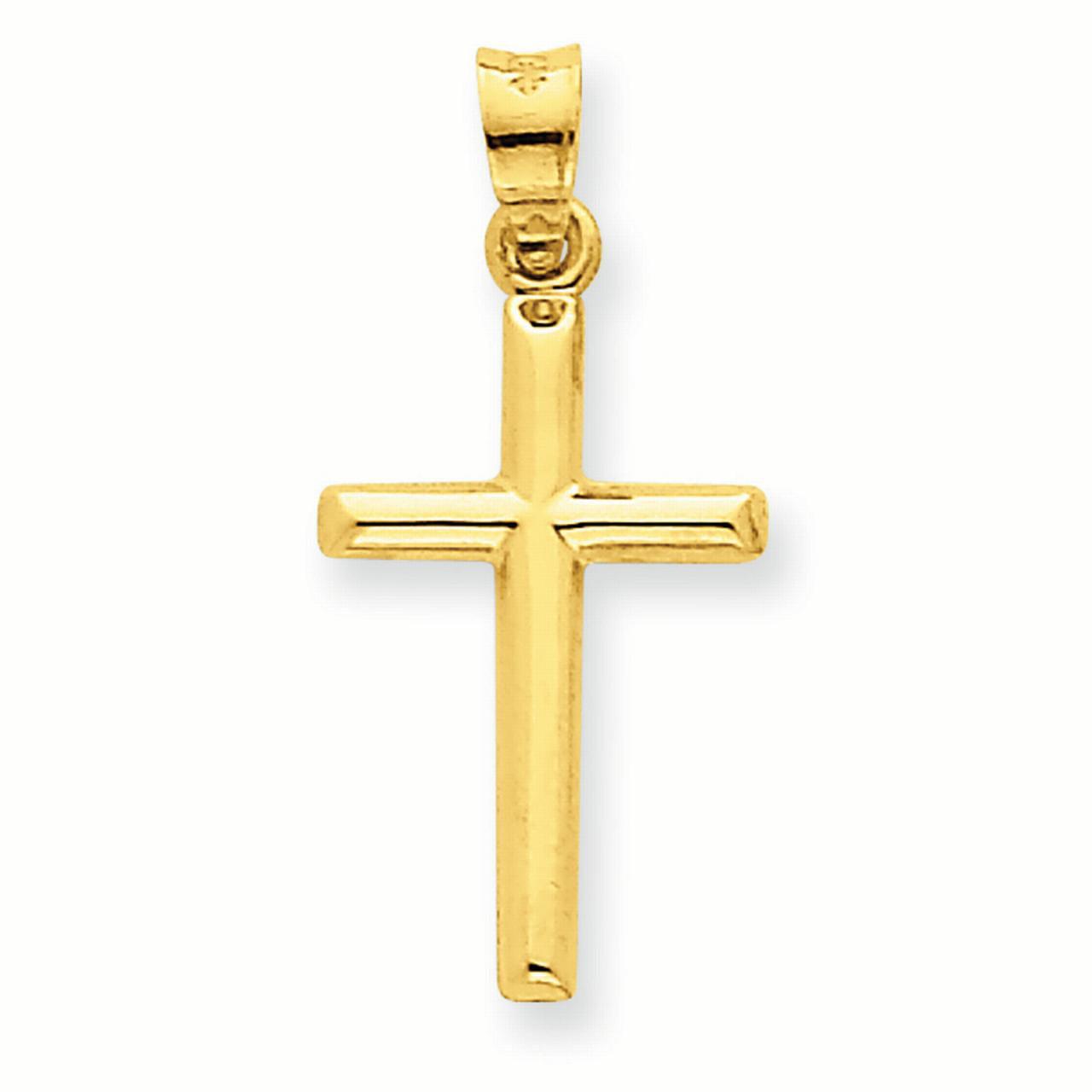 Lex /& Lu 14k White Gold Reversible Latin Cross Pendant