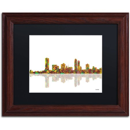 Trademark Fine Art   Milwaukee Wisconsin Skyline   Canvas Art By Marlene Watson Black Matte  Wood Frame
