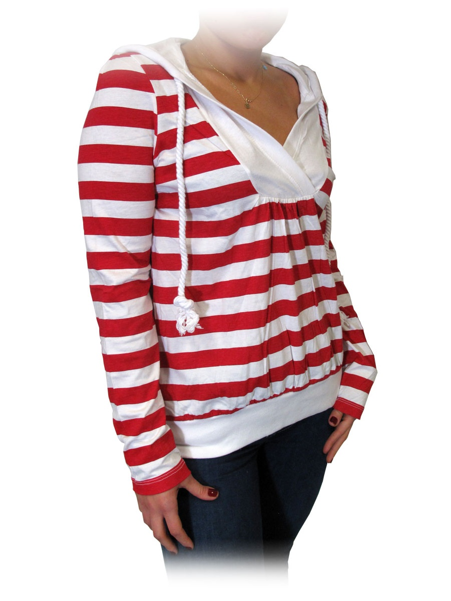 Twili Nautical Stripe Lightweight Hoodie with Pull String - Red/White (Small)