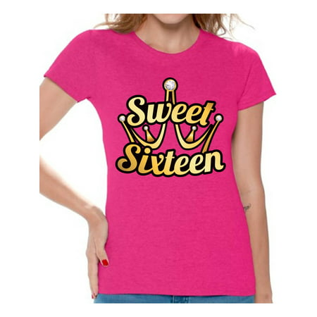 Awkward Styles Sweet Sixteen Shirt for Ladies Cute 16th Birthday Party Tee My Super Sweet Sixteen Cute Birthday Party