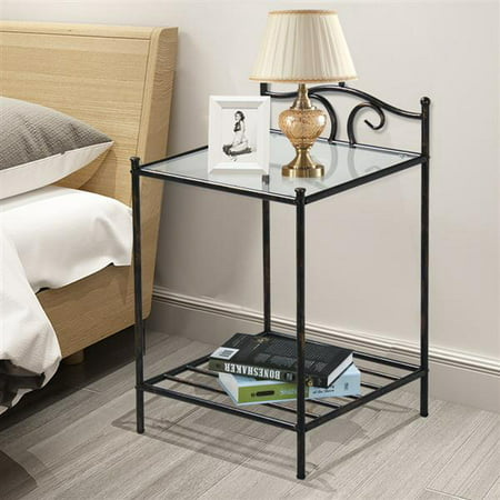 Glass Top Metal Finish - Yaheetech 2 Tier Metal Night Stand Antique Bedside Table Top Glass Shelf Storage