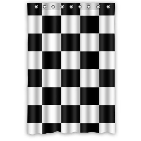 GreenDecor Black White Checkered Waterproof Shower Curtain Set With Hooks Bathroom Accessories Size 48x72 Inches