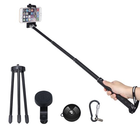 selfie stick foneso upgaded version 6 in 1 aluminum extendable self portrai. Black Bedroom Furniture Sets. Home Design Ideas