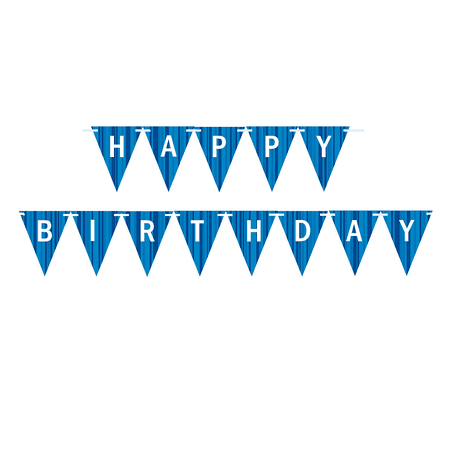 Glow In The Dark Happy Birthday Banner (Light Blue and Dark Blue Triangular Happy Birthday Bunting Letter)