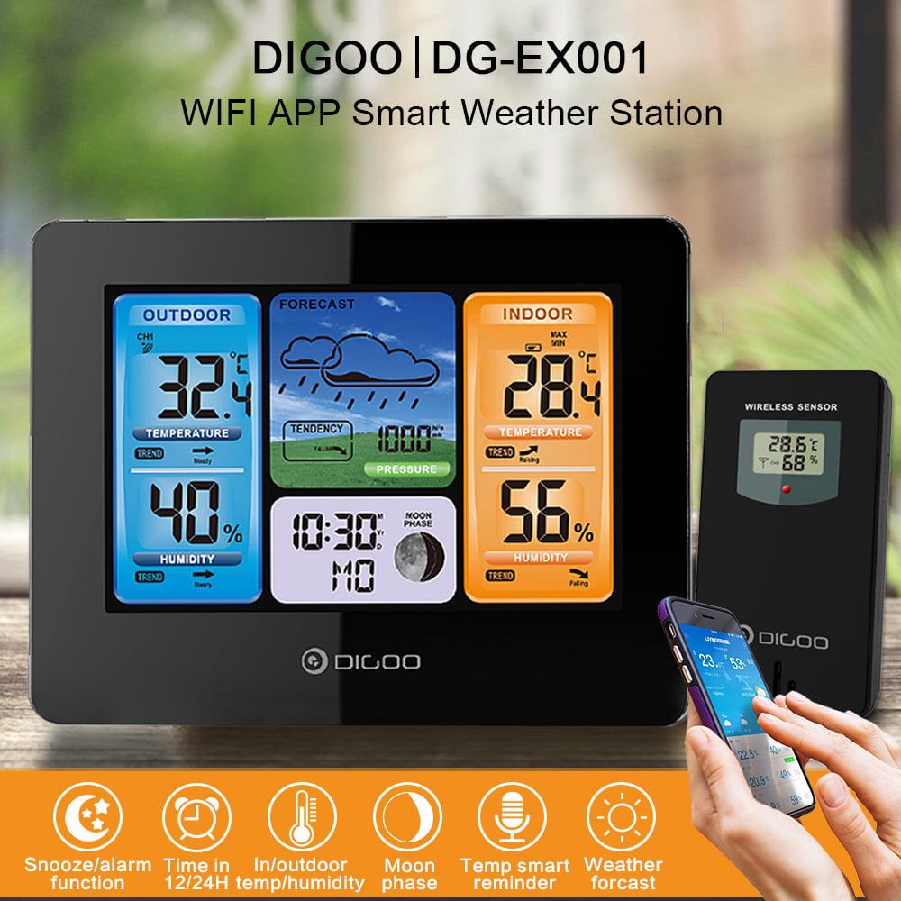 Digoo DG-EX001 WIFI Smart Wireless Colour LCD Thermometer Weather Station Sensor