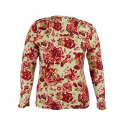 Charter Club Women's Floral Print Long Sleeves Pima Top (0X, Scarlet Red Combo)