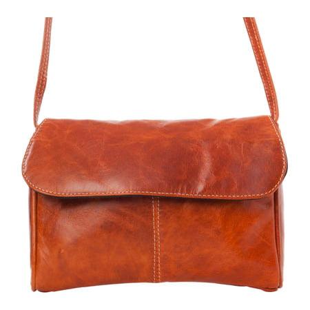 Women's David King Leather 3521 Florentine Flap Front Handbag