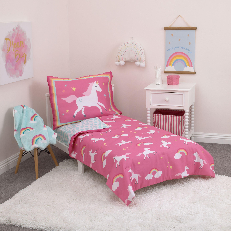 Rainbows & Unicorns 4 Piece Toddler Bedding Set - Walmart.com