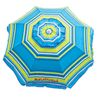 6' Beach Umbrella with Built-In Sand Anchor - Blue Green Stripe