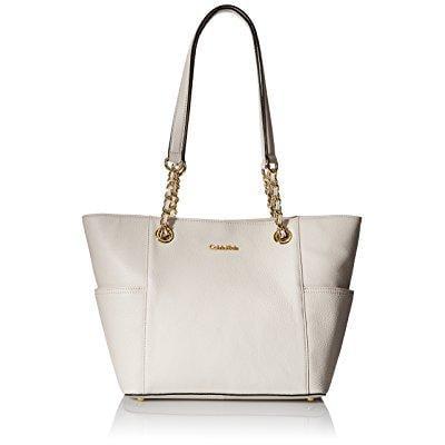 Calvin Klein pebble chain tote bag, white, one size