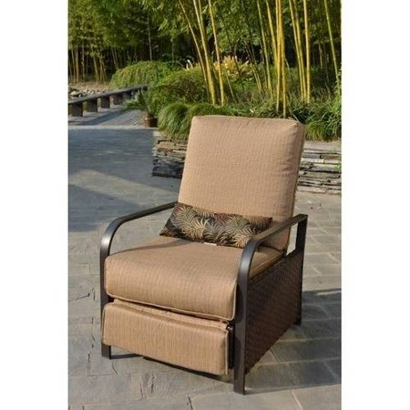Mainstays Woven Wicker Outdoor Recliner With Beige Cushions