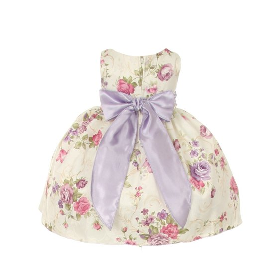 Cinderella Couture Baby Girls Pink Rose Printed Jacquard: Baby Girls Lilac Floral Printed