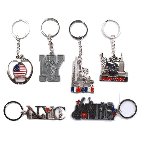 New York NYC Key-Chains Set of 6 Statue of Liberty,USA Flag,World Trade Center,Empire State Building (Mix (World Trade Center Woman In The Hole)