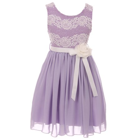 - Little Girls Sleeveless Floral Lace Chiffon Holiday Party Flower Girl Dress USA Lilac 4 (J21KS34)