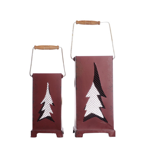 Image of A Home 2-Piece Evergreen Candle Lantern Set