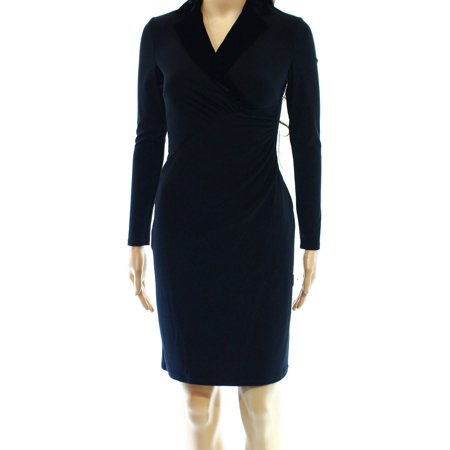 Lauren Ralph Lauren NEW Black Women Size 14P Petite Velvet Sheath Dress