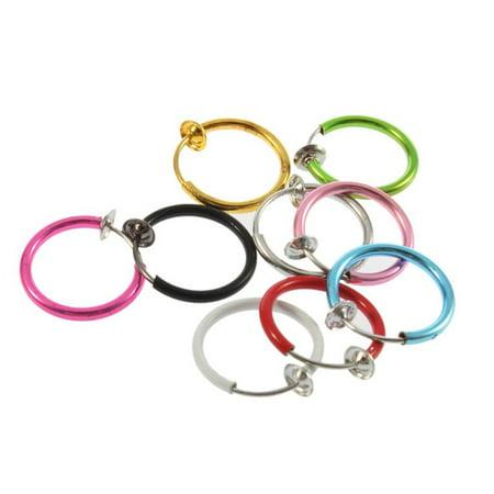Nose Ring Hoop Four-Diamond Lip Ear Rings Fake Rhinestones Non-piercing Jewelry