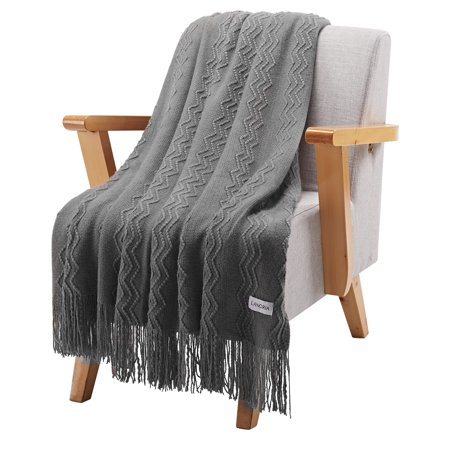 LANGRIA Wavy Pattern Knitted Tasseled Fringe Throw Blanket Gray Cable Knit Baby Blanket Pattern