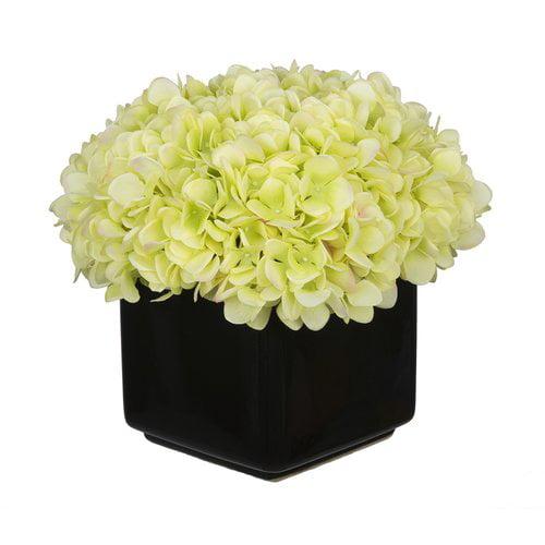 House of Silk Flowers Inc. Hydrangea Arrangement in Large Black Cube Ceramic