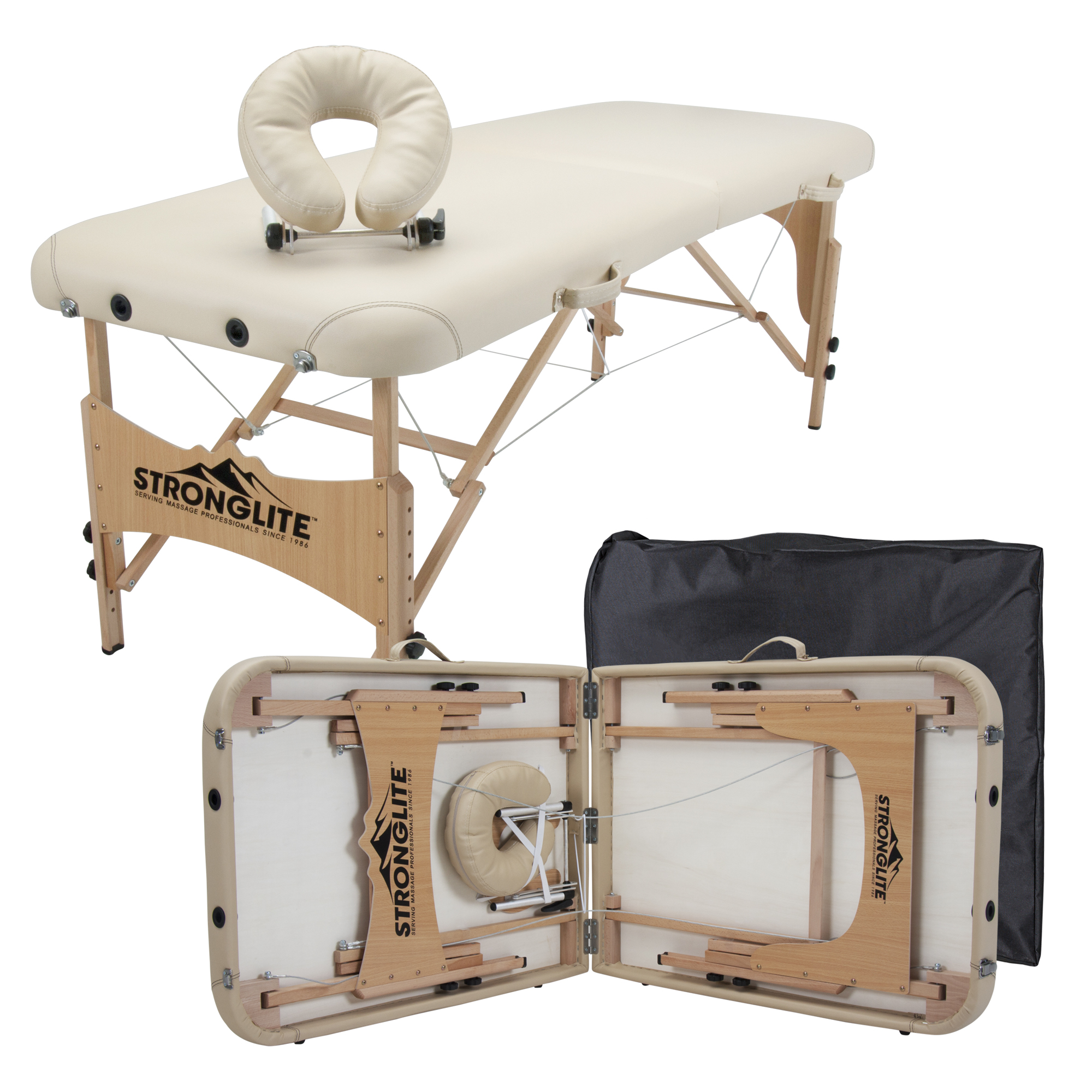 STRONGLITE Portable Massage Table Package Shasta - All-In-One Treatment Table w/ Adjustable Face Cradle, Pillow & Carrying Case