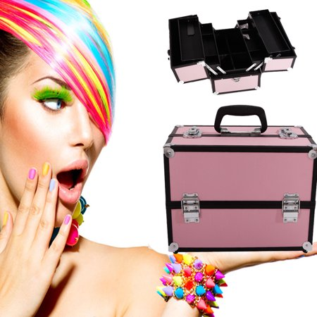 Zimtown Professional Aluminum Makeup Cosmetic Train Case Beauty Organizer 3 Tier Travel
