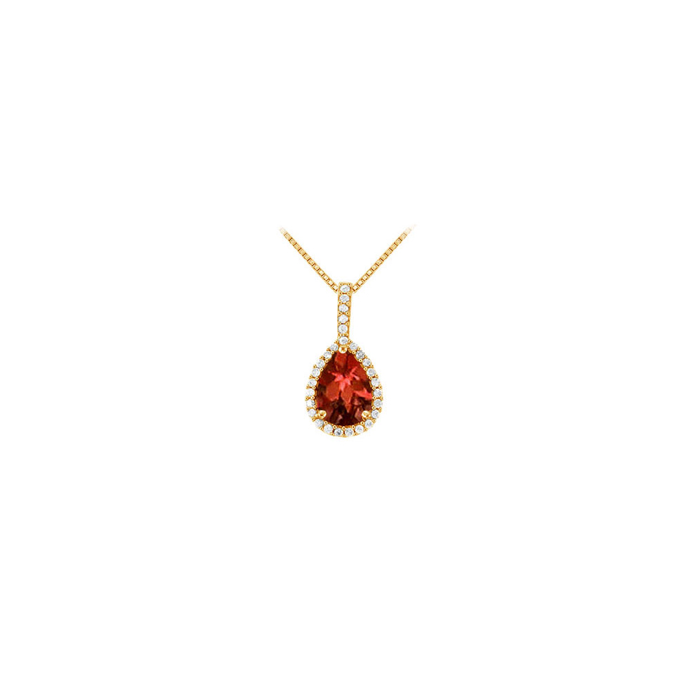 Fancy Teardrop Garnet and Cubic Zirconia Halo Pendant in 14K Yellow Gold Vermeil over Silver - image 2 of 2