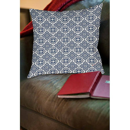 Thumbprintz Winter Garden Baroque Navy on White Indoor Pillow ()