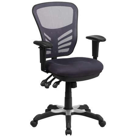"""43.500"""" Dark Gray Mid-Back Mesh Multifunction Executive Swivel Ergonomic Office Chair with Adjustable Arms"""