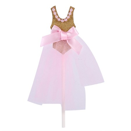 Pink Gold Glitter Ballerina Cupcake Toppers Birthday Cake Toppers Cake Princess Skirt Decorations,Pack of 10](Ballerina Cake)