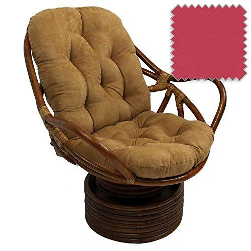 Attrayant ... Bali Rattan Papasan Swivel Rocker With Cushion   Solid Microsuede  Fabric, Berry Berry