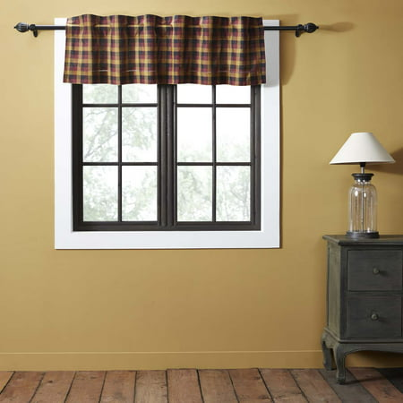 Deep Burgundy Red Primitive Kitchen Curtains Settlement Rod Pocket Cotton  Hanging Loops Plaid 16x60 Valance