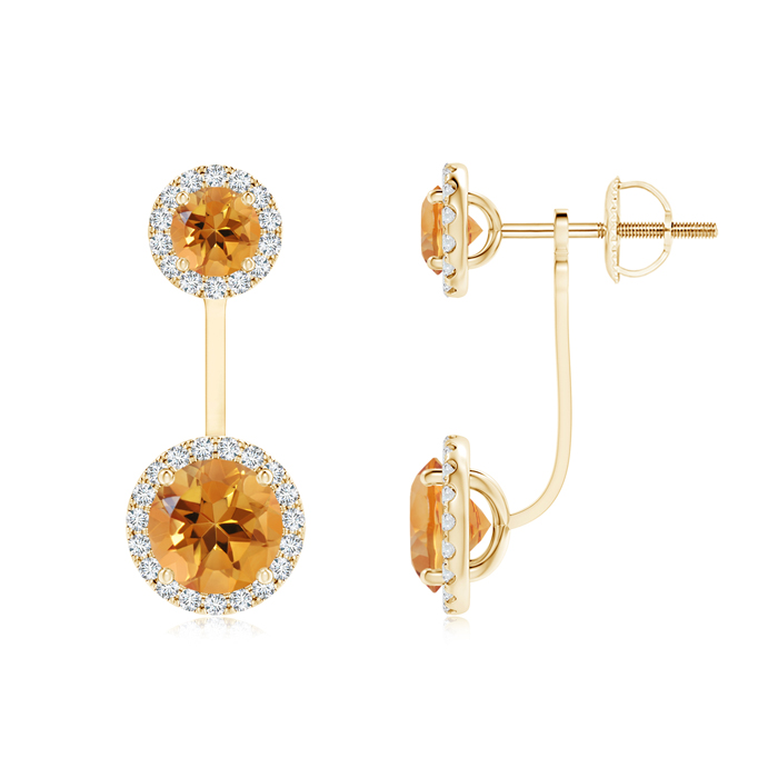 Angara Round Citrine Front-Back Drop Earrings in 14K White Gold AjF1Letf