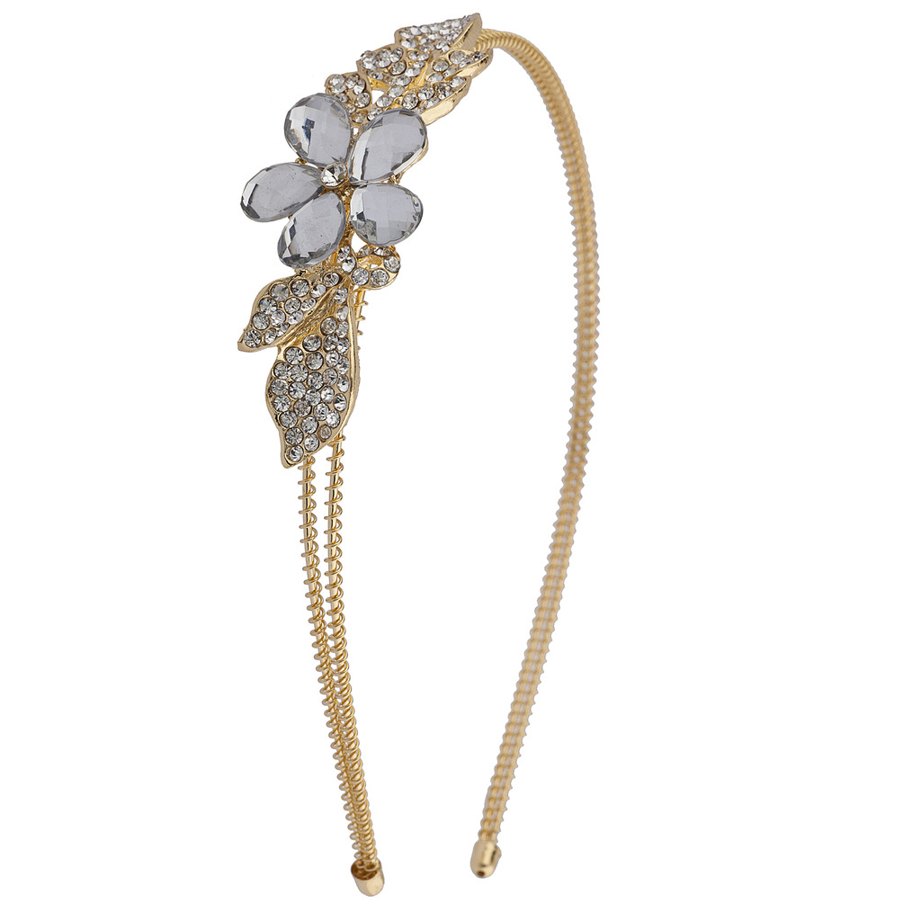 Lux Accessories Goldtone Flower and Crystal Leaves Bride Bridal Hard Headband