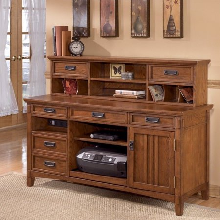 Ashley Furniture Cross Island Credenza And Hutch In Medium Brown