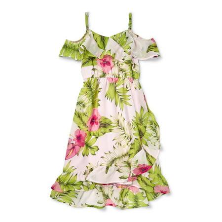 Cold Shoulder Ruffle Floral Print Maxi Wrap Dress (Little Girls & Big Girls)](Maxi Dress For Little Girls)