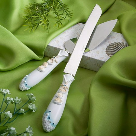 Beach Theme Wedding Knife & Cake Server Set, 1](Cake Knife Set)